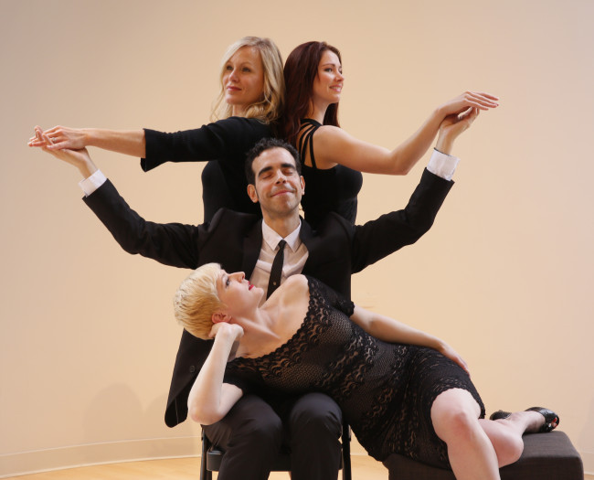 Guido (Jose Gonzales) and his Muses (clockwise from top left): his wife Luisa (Beth DeVries), his star Claudia (Danielle Barnum) and his mistress Carla (Taryn Darr). Photo by Chris Bennion. SHOWTUNES presents NINE In Concert March 28/29, 2015 at Benaroya Hall.