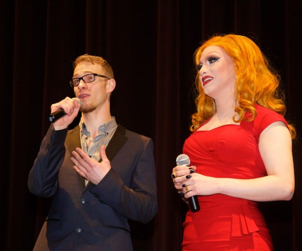 """Alex Berry and Jinkx Monsoon: the director and star of """"Drag Becomes Him"""" a feature length documentary which made its world debut at Seattle's Cinerama on Wednesday, April 29, 2015. Photo: Matt Baume"""
