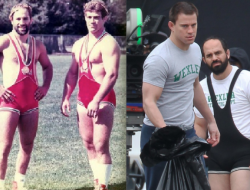 """The Schultz Brothers, Dave and Mark, and the actors who portrayed them in """"Foxcatcher"""", Channing Tatum (Mark) and Mark Ruffalo (Dave)."""