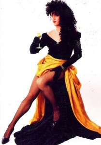 Mark Finley showing off her stems in this vintage photo.