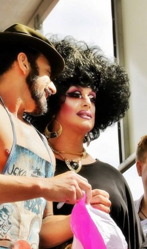 Mario Diaz, Jackie Beat, and L.A. Kendall backstage at PrideFest DJ Stage 2014. YOU can join the fun this year with a PrideFest Backstage VIP Pass!!!  Photo: Michael McAfoose/Urban Focus Photography for SGS