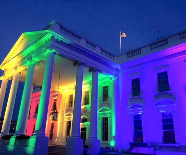 The White House bathed in rainbow colored lighting for LGBTQ Pride and Marriage Equality.