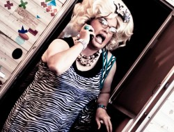 Sylvia O'Stayformore is your hostess for Trailer Park Drag Strip at Georgetown's annual Art Attack!