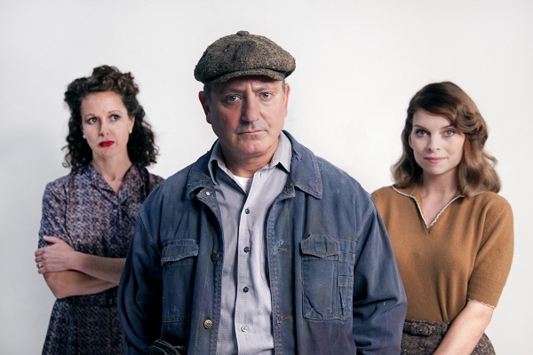 """(l to r) Kirsten Potter, Mark Zeisler and Amy Danneker in Arthur Miller's """" A View from the Bridge"""" running Sept 25 to Oct 18, 2015 at Seattle Repertory Theatre. Photo: Angela Nickerson"""
