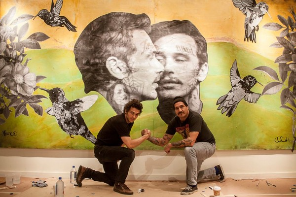 Actor/artistic collaborator James Franco and Seattle artist Cheyenne Randall at The Treason Gallery.