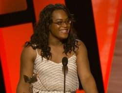 """Mya Taylor makes history as the first trans actor to win a major film award for her work in the film, """"Tangerine"""" as she takes teh Supporting Actress award at the 2015 Independent Spirit Awards."""