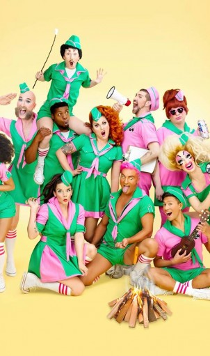 The cast of Kitten 'n' Lou's CAMPTACULAR live at The Triple Door in Seattle, July 1-3, 2016. Photo:  JiJi Lee Photography