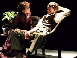 """Helene (Suzanne Bouchard) and Oswald (John Coons) in Ibsen's """"Ghosts"""" at ArtsWest through October 16, 2016"""