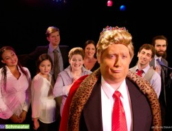 """Kevin Bordi, front, stars as Donald Trump in Theater Schmeater's original play """"Trump the King, or POTUS DRUMPH"""" now through Oct 15, 2016. Photo: Dave Hastings"""