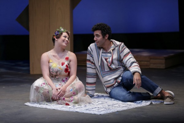 """Jasmine Jean Sim and Rudy Roushdi in Seattle Shakespeare Company's """"The Winter's Tale"""" onstage at the Leo K at Seattle Rep through Oct 2, 2016. Photo by John Ulman."""