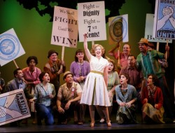 """Katherine """"Babe"""" Williams (Billie Wildrick, center) and company in The Pajama Game at The 5th Avenue Theatre.  Photo credit Mark Kitaoka"""