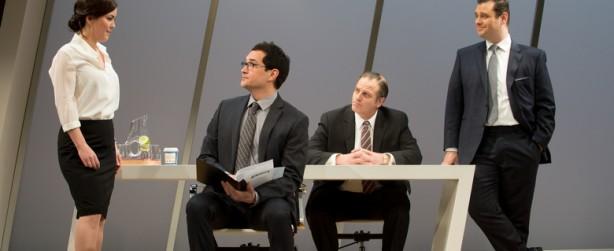 Hana Lass, left, Richard Nguyen Sloniker, Shawn Belyea and MJ Sieber  in Seattle Rep's DRY POWDER.