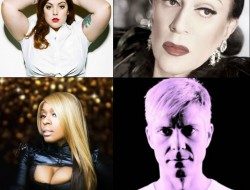 Some of the headliners for Seattle PrideFest at Seattle Center on Sunday, June 25, 2017: clockwise, from top left: singer Mary Lambert, singer Joey Arias, DJ Sammy Jo, singer Ultra