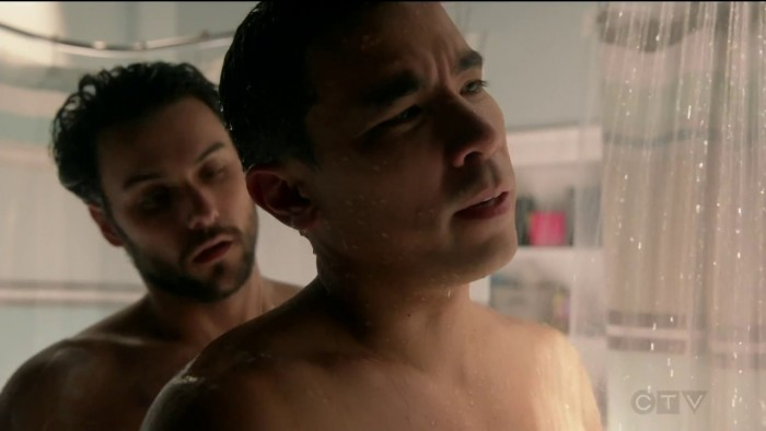 """With co-star Jack Falahee who plays Conrad's onscreen romantic interest on ABC TV's """"How To Get Away With Murder"""""""