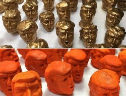 """Artist Chris Buening's """"Trump Heads"""" will be sale at Soil Gallery in June with proceeds benefiting Lambert House."""