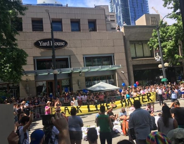 No Justice No Pride protesters shut down the 2017 Seattle Pride Parade in downtown Seattle with Black Lives Matter activists. Photo: Basil Shadid