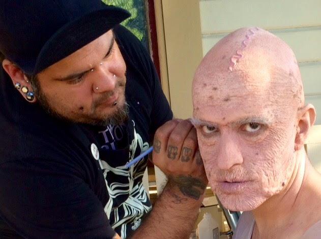 """Seattle make-up artist ERIK WARREN applying old age make-up for the film, """"Atavistic"""""""