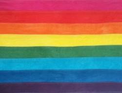 The original rainbow flag hand sewn by Gilbert Baker.