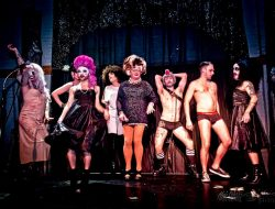The cast of the monthly drag variety show BACON STRIP created and hostessed by the one and only Sylvia O'Stayformore pictured in the center. Photo: Chris Schanz