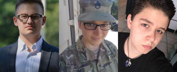 """Ryan Karnoski, Staff Sergeant Cathrine (""""Katie"""") Schmid, and  Drew Layne are plaintiffs in the lawsuit filed against Donald J. Trump filed in Seattle on August 28, 2017 seeking to stop Trump's ban on transgender military members."""