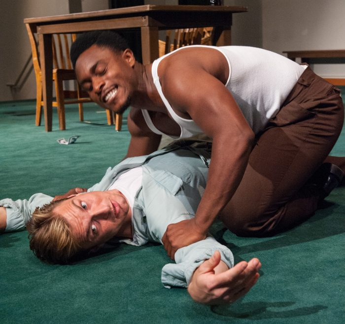 Ryan Williams French, top and Leicester Landon, bottom, are part of the ensemble of The Williams Project's production of James Baldwin's 1964 play, BLUES FOR MISTER CHARLIE