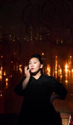 Sara Porkalob wrote and stars in DRAGON LADY at Intiman.  Photo by Robert Wade/Intiman Theatre.