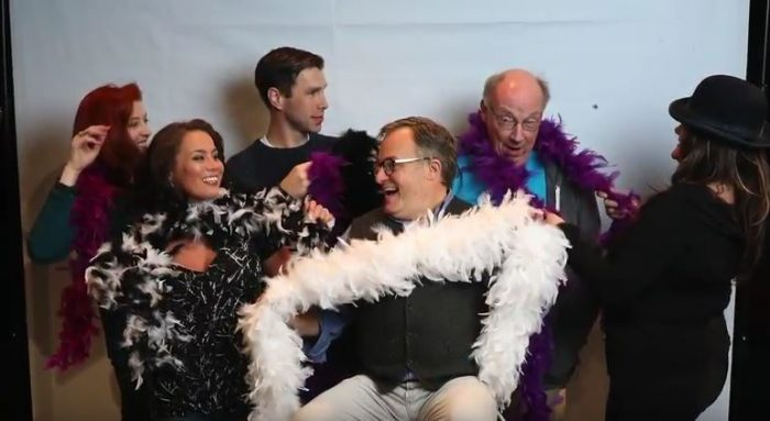 """Rich Gray, center with boa and the cast of """"The Nance"""" onstage at ArtsWest Oct 26-Nov 19, 2017 Photo by John McLellan"""