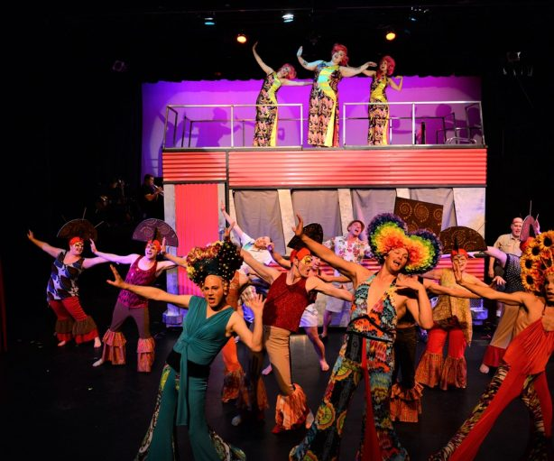 The cast of Bainbridge Performing Arts' production of PRISCILLA QUEEN OF THE DESERT. Photo by Chris Cannon