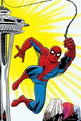 MoPOP and SC Exhibitions commissioned several renowned Marvel artists to create a series of posters for the Seattle show which will be released over the months to come. Michael Allred's interpretation shows Spider-Man swinging from the iconic Space Needle. The exclusive artwork will be featured in MoPOP's advertising campaign in spring 2018. Space Needle ® ©2017 MARVEL (PRNewsfoto/Museum of Pop Culture)