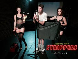 Hannah Ruwe, Nik Doner, Malika Usmanova in Mr. Doner's autobiographical theater piece CUDDLING WITH STRIPPERS onstage at 18th and Union through Nov 4, 2017