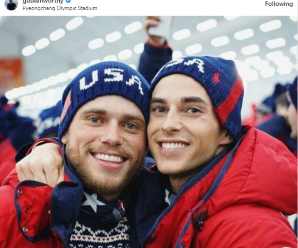 Out Gay Olympians Gus Kenworthy and Adam Rippon at the Opening Ceremonies in South Korea for the 2018 Winter Games.