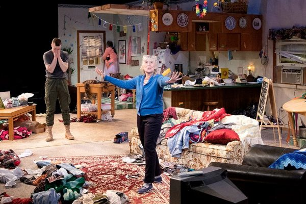 From left to right, Evan Barrett, Charles Leggett (in corner) and Gretchen Krich in Taylor Mac's HIR at ArtsWest, a co-production with Intiman Theatre