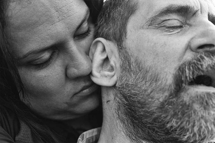 """Photographer and trans activist Florencia Güimaraes Garcia and Alejandro Pablo Rodriguez met almost two decades ago. In 2016 they finally tied the knot, six years after same-sex marriage was made legal in Argentina. Florencia was forced to leave her family when she came out, leaving her no choice but to pursue sex work. With Alejandro's support, Florencia stopped doing sex work and embarked on a new life. """"All of us have suffered the effects of transphobia, of being expelled from our homes when we become girls."""" Photo: Kike Arnal"""