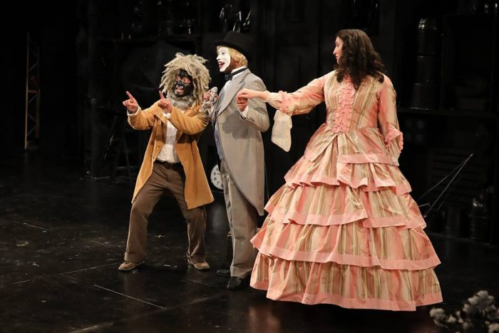 """The astonishing brilliant cast of ArtsWest Playhouse's production of """"An Octoroon"""" that examines American racial issues through the lens of a 170 year old play. From left to right: Jose Abaoag, Lamar Legend and Heather Persinger."""