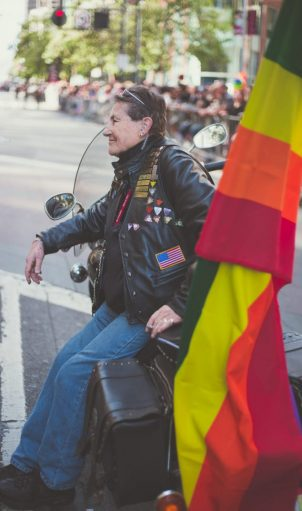 """One of the founders of """"Dykes on Bikes"""" Soni Wolf passes at age 69.  Photo credit: Sarah Karlan"""