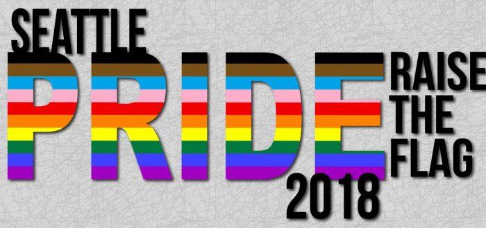 SeattlePrideFlagCity Hall Banner 2018