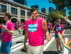 Tristen Pamphlet-Gardner, winner of the 2018 Emerging Leaders Pride Award marches with the GSBA. Photo: Nate Gowdy for SGS