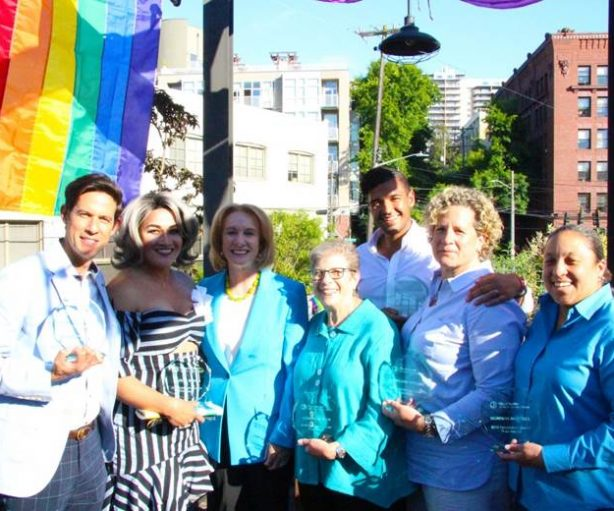 Mayor Jenny Durkan (third from left) and recipients of this year's Pride Awards.