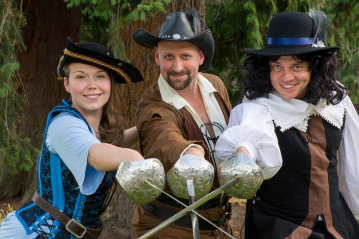 Photo: Greenstage presents THE THREE MUSKETEERS as part of their 2018 free summer theater series. Musketeers Abby Nathan, Daniel Wood, and Chris Allen, by Ken Holmes