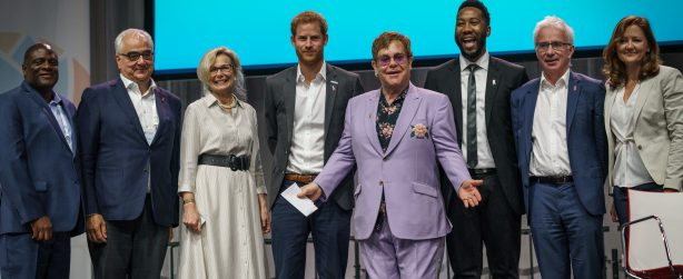 22nd International AIDS Conference (AIDS 2018) Amsterdam, Netherlands.   Copyright: Matthijs Immink/IAS  PLENARY Breaking barriers of inequity in the HIV response  Photo shows:  Ndaba Mandella Sir Elton John, United Kingdom  HRH The Duke of Sussex, United Kingdom