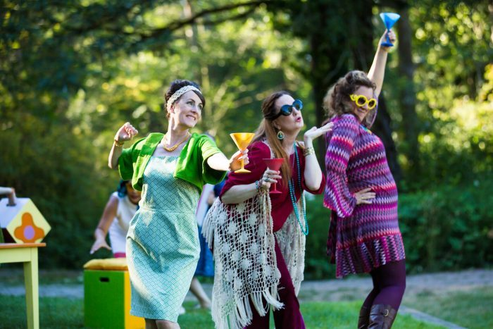 Some very merry wives of Windsor in Wooden O's free summer park production. Photo by HMMM Productions.