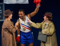 """Cobey Mandarino, André G. Brown, Sydney Andrews in """"And In This Corner: Cassius Clay"""" at Seattle Children's Theatre through Nov 25, 2018."""