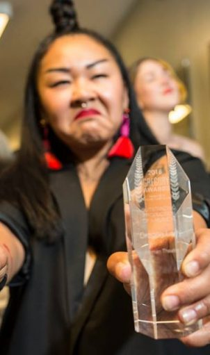 Actor/Writer/Activist Sara Porkalob snagged two Gregory Awards for her autobiographical solo show DRAGON LADY