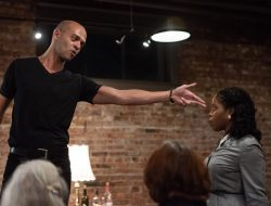 Brandon J. Simmons and Claudine Mboligkpelani Nako in The Williams Project's production of Tony Kushner's A BRIGHT ROOM CALLED DAY, being performed at the Hillman City Collaboratory from Oct 25th to Nov 18, 2018. Photo: Julia Davis