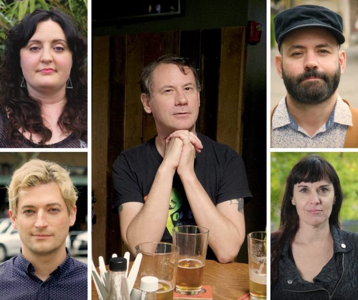 "The cast of new gay web series, ""Emerald Down & Out"": Dan Dembiczak, center, and Jennifer Parker, JenRenee Fairlane, Peter Farrar and Craig Trolli. Photos by David Quantic and Danny Tayara."