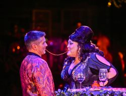 A Teatro ZinZanni patron and diva/star Christine Deaver share a meal in ZinZanni's holiday show, HOLLYWOOD & VINE at their new home in Woodinville, Washington. Photo: Michael Doucette