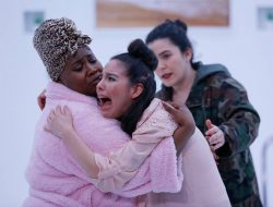 """Left to right: Shermona Mitchell, Klarissa Marie Robles and Sophie Franco in """"B"""" at Washington Ensemble Theatre/12th Avenue Arts on Capitol Hill. Photo: WET"""