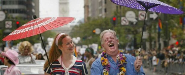 "Star Laura Linney and author Armistead Maupin, pictured here from San Francisco Pride Parade circa...the early 90s, reunite for an  all-new ""Tales of The City"" series on Netflix for 2019."