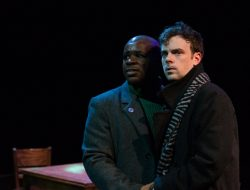 Belize (left) (played by Ton Williams) and Prior (Kenyon Meleney) in Angels in America: Part II (Perestroika).  Photo by Tim Johnston.