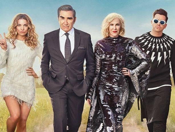 Annie Murphy, Eugene Levy, Catherine O'Hara, and Dan Levy in a Neil Barrett sweater we almost bought for ourselves,  star in SCHITT'S CREEK and all/some of them are coming to Seattle in May.